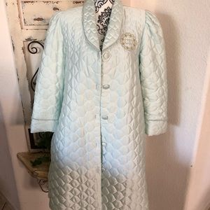Christian Dior lt turquoise quilted robe